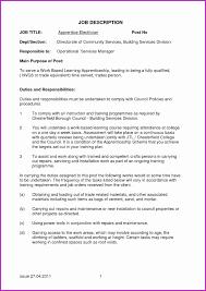 Electrician Job Description Electrician Apprentice Resume Examples Sample Pdf 20 Job Description