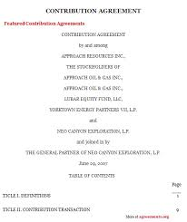sample of contracts contribution agreement sample contracts and caviderhumb ga