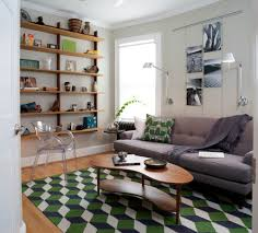 Living Room Bookcase Unique Mid Century Inspired Rug With Grey Sofa For Modern Living