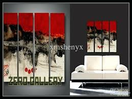 black and white wall art with red hand painted high quality abstract red black white oil