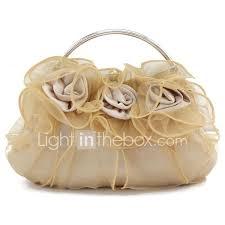 Light In The Box Handbags Womens Flower Silk Evening Bag Burgundy Champagne Ivory