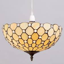 tiffany inspired ceiling light lamp glass shade decorative in yellow litecraft