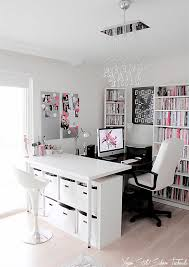 Image Inspiration Light Grey And White Home Office With Black And Pink Accents And Buble Glass Chandelier Painter1 30 Gorgeous Home Office Designs