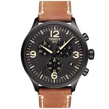 tissot tissot chrono xl 45mm black dial leather strap men s chronograph watch