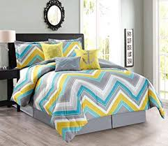 turquoise and yellow bedding. Exellent Turquoise 7Piece Oversize Zigzag Designer Nautical Anchor Comforter Set Queen Size  Bedding With Decorative Pillows And Turquoise Yellow I