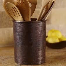Kitchen Utensil Holder Solid Copper Utensil Holders 7 Inch And 325 Inch Native Trails