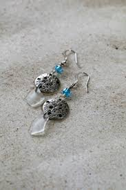 white seaglass chips silver sand dollar swarovski crystal on silver earwires our jewelry sea glass earrings pure naples art