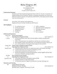 new grad rn resume template Operating Room Registered Nurse Resume Sample  professional summary .