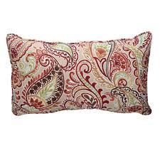 hampton bay chili paisley lumbar outdoor throw pillow