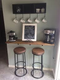 Kitchen Coffee Bar Diy Coffee Bar 1x12 Lumber Stained To Match Kitchen Cabinets And