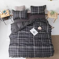 geometric black plaid bedding set duvet