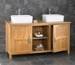 130cm oak bathroom cabinet freestanding basin double sink vanity unit cupboard