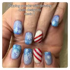 dipping powder nails, christmas nail art, snowflake nail art ...
