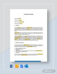 Creating a detailed account of project factors (include time and materials or engagement terms) and of how the project should proceed alleviates miscommunication. Statement Of Work Template Word Doc Apple Mac Pages Google Docs