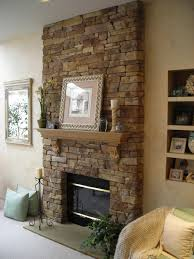 Decorations:Cool Rock Stone Fireplace Wall Idea Amazing Natural Exposed  Stone Wall With Wooden Bookshelves