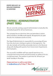 Payroll Administrator Cover Letter Were Hiring Wallaces Wellingtonbridge