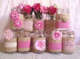 Mason Jar Decorations For Bridal Shower 60x Rustic Burlap And Pink Lace Covered Mason Jar Vases Wedding 13