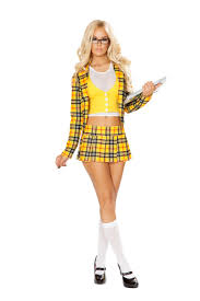 y yellow white 3pc school girl without a clue costume