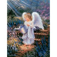 angel garden. full diamond painting decorative rhinestone mosaic cross stitch embroidery angel garden watering flowers -