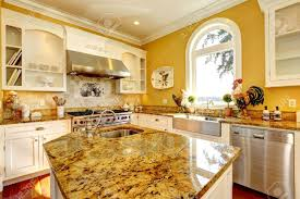Yellow Kitchen Bright Yellow Kitchen Interior In Luxury House With Granite Tops