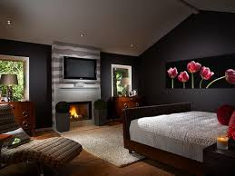 decoration: Enchanting Black Accents Wall Painted Of Bedroom Design Feat  Likeable Modern Fireplace And Dark
