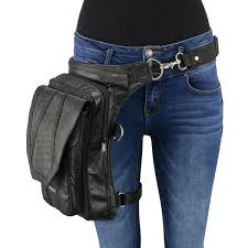 extra large conceal carry black leather thigh bag w waist belt