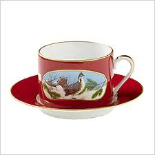 Decorating With Teacups And Saucers Lynn Chase Porcelain Coffee Cup Saucer in Red with Bird in 80