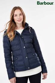 Womens Duvet Jackets | Ladies Padded & Quilted Jackets | Next & Barbour® Navy Inscar Quilt Hooded Jacket Adamdwight.com