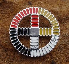native american medicine wheel silver pendant