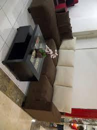 Sofa L 104 coklat 3 seats meja genesis kerang