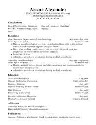 Anesthesiologist Resume Awesome Best Department Of Anesthesiology Resumes ResumeHelp