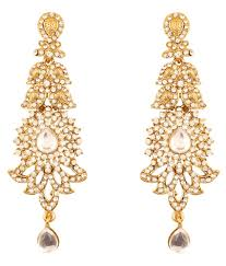 touchstone indian bollywood kundan look austrian crystals vintage vogue long designer jewelry chandelier earrings in antique gold tone for women