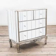 annabelle french silver paint mirrored four drawer chest of drawers