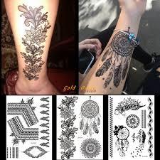 1ks Horké černé Henna Tetování Nálepka Dreamcatcher Design Gbj013