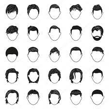 男性髪型黒シンプルなアイコン セット ストックベクター Agesxe