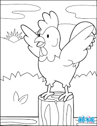 Rooster At The Dawning Coloring Page