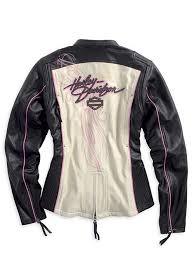 details about harley davidson women pink label colorblocked black leather jacket 97010 14vw m