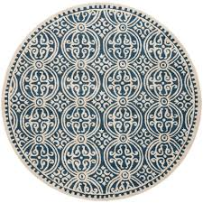 safavieh cambridge navy blue ivory 8 ft x 8 ft round area rug cam123g 8r the home depot