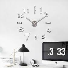 stylish large diy quartz 3d wall clock acrylic sticker wall clock 015 silver