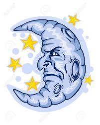 漫画のスタイルのタトゥーのデザインのために月と星のイラスト素材