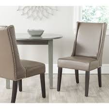 safavieh en vogue dining sher clay bi cast leather side chairs set of silver