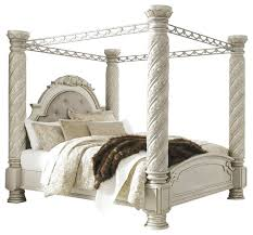 cassimore king poster canopy bed pearl silver