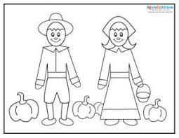 Thanksgiving Coloring Pages Pilgrims Lady And Gent Cute Pilgrim