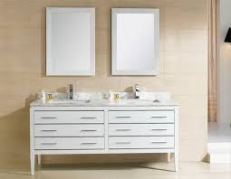 double vanity with two mirrors. modern double bathroom vanities under two white framed mirrors in cream wall tiles vanity with