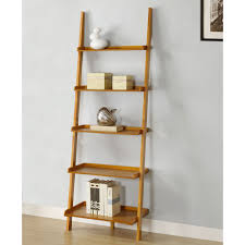 Awe Inspiring Brown Oak Wooden Ladder Shelf For Bookcase Storage Also  Neutral Grey Wall Painted Added Art Wall Decors Views