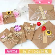 New Year Greeting Card Small Card Postcard Handmade Greeting Card Retro Kraft Paper Envelope Birthday Card Mini Message Card