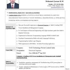 Electrical Engineering Resume Download Sample For Experienced