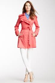 image of jessica simpson spread collar ruffle trim trench coat