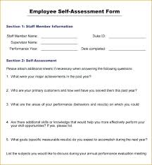 Employee Self Assessment Extraordinary Self Appraisal Example Employee Evaluation Form Academic Resume Oyee
