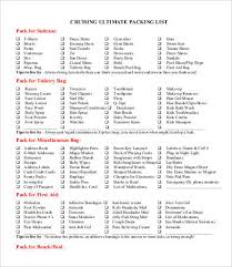 Packing Check List Packing Checklist 11 Free Word Pdf Documents Download